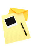 Yellow letter paper and yellow envelope Stock Image