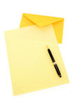Yellow letter paper and yellow envelope. Communication concept Stock Photos