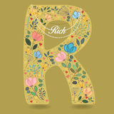 Yellow Letter R with Floral Decor and Necklace Stock Photography