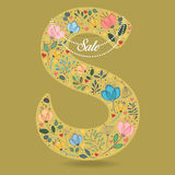 Yellow Letter S with Floral Decor and Necklace royalty free stock image