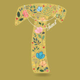 Yellow Letter T with Floral Decor and Necklace Royalty Free Stock Photography