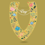 Yellow Letter V with Floral Decor and Necklace Stock Photos