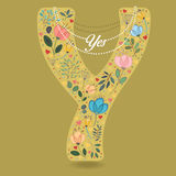 Yellow Letter Y with Floral Decor and Necklace royalty free stock photo