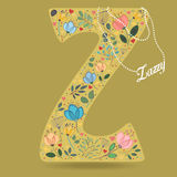Yellow Letter Z with Floral Decor and Necklace Royalty Free Stock Photos