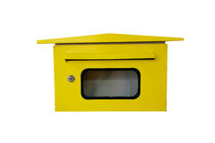 Yellow letterbox. Yellow letterbox on white background Royalty Free Stock Photo