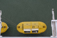 Yellow life boat Stock Image