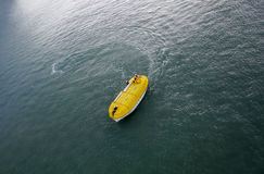 Yellow life boat. Life boat during a simulated emergency procedure Stock Images