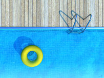 Yellow life preserver floating in swimming pool, summer background. Vacation concept Stock Photography