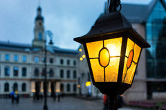 Yellow light on the background of the Town Hall in Riga Royalty Free Stock Image
