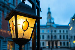 Yellow light on the background of the Town Hall in Riga Stock Image