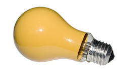 YELLOW LIGHT BULB. ISOLATED ON WHITE BACKGROUND Stock Images