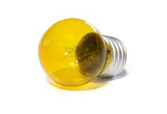 Yellow light bulb. Over white background Royalty Free Stock Photo