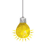 Yellow light bulb abstract geometric hanging Stock Photos