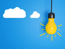 Yellow light bulb on blue background. Royalty Free Stock Images