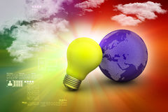 Yellow light bulb with earth. In color background Royalty Free Stock Images