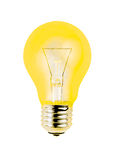 Yellow light bulb isolated on white background Stock Images