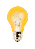 Yellow light bulb isolated on white background Royalty Free Stock Images