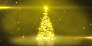 Yellow light christmas tree Stock Image