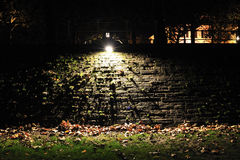 Yellow light over the wall.  Royalty Free Stock Photography