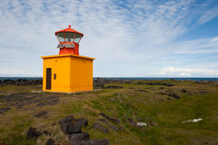 Yellow lighthouse in Iceland Stock Photo