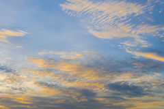 Yellow lighting and light blue sky Sunset sky and cloud Backgrou. Nd Royalty Free Stock Photography