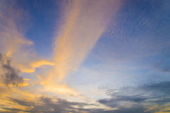 Yellow lighting and light blue sky Sunset sky and cloud Backgrou. Nd Royalty Free Stock Photo