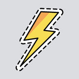 Yellow Lightning Icon. Cut it out. Patch. Energy Royalty Free Stock Images