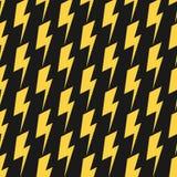 Yellow lightnings black vector seamless pattern Stock Photos