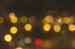 Yellow Lights. Beautiful bokeh of the nigh city lights stock photo