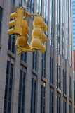Yellow lights on top and buildings. NEW YORK CITY, USA, September 10, 2017 : In the streets of Manhattan. Manhattan is the most densely populated borough of New Royalty Free Stock Photo