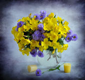 Yellow-lilac bouquet Royalty Free Stock Photo