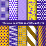 10 yellow-lilac classic seamless geometric patterns. Geometric patterns seamless. Set of 10 yellow-lilac classic patterns. May be used as background, backdrop Stock Images
