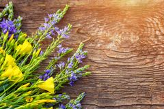 Yellow and lilac flowers lie on wooden background, copy space, beautiful postcard background stock photo