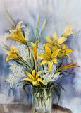 Yellow lilies in a glass vase. Flower arrangement. Bouquet of yellow field lilies in a glass vase. Watercolor Stock Photo