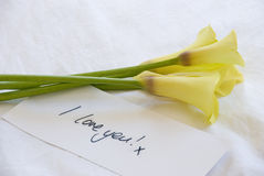 Yellow lillies and love note Stock Photos