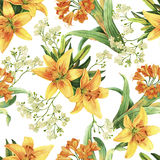 Yellow lily flower watercolor seameless pattern Stock Photography