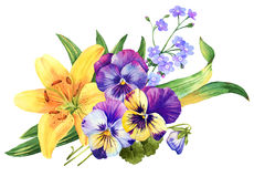 Yellow lily and pansy flower watercolor bouquet Royalty Free Stock Photo