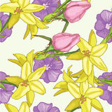 Yellow lily. Summer pattern with yellow lily royalty free illustration