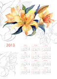 Yellow Lily watercolor. Calendar for 2013 Royalty Free Stock Images