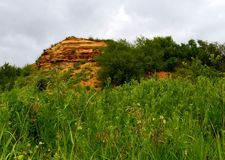 Yellow limestone. On the background of cloudy sky and among the trees. Aksay district of Rostov region.  Photo taken on: June 11 Saturday, 2016 Stock Photography