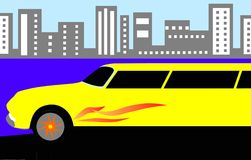Yellow limousine Stock Photo