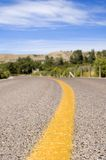 Yellow line. Yellow dividing line of road Royalty Free Stock Photos