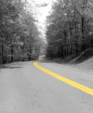 Yellow Line. Country road near Blackwater Falls in West Virginia - black and white image with selective coloring Stock Image