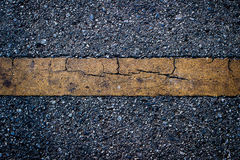 Yellow line dirty on black asphalt road texture Royalty Free Stock Photo