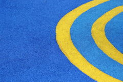Yellow Line Half Circle On Blue Ground. Abstract Yellow Line Half Circle On Blue Ground Royalty Free Stock Photography