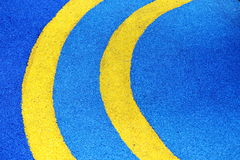Yellow Line Half Circle On Blue Ground Stock Photos