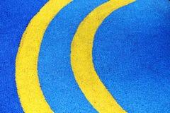 Yellow Line Half Circle On Blue Ground. Abstract Yellow Line Half Circle On Blue Ground Stock Photos