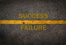 Yellow line on the high way.Success and failure Stock Photos