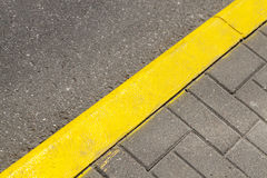 Yellow line markings on the road Royalty Free Stock Photo