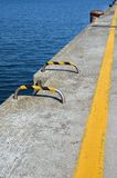 Yellow line over the pier Royalty Free Stock Images